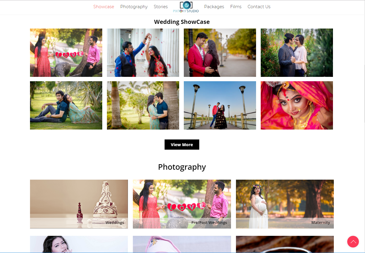 A Website to showcase images, videos and services of a Photography Studio